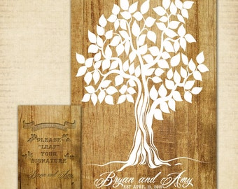 "Guest Book Tree, Wood Wedding Tree Poster, 12"" x 18"" - 50-100 Guests, Guest Book Alternative"