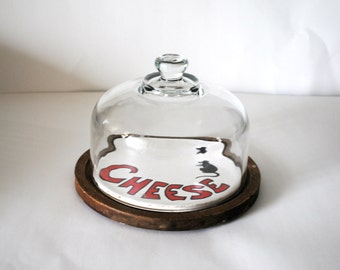 Vintage Painted Cheese Plate/Board with cover