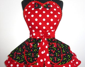 Bow Tie Red Cherry Apron with polka dots -last one in stock