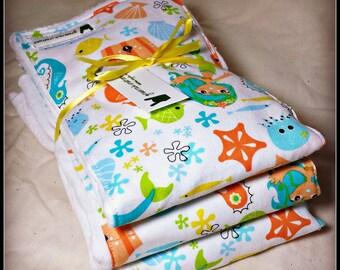 Baby Girl Burp Cloth Set - Mermaid, Starfish, Sea HOrse