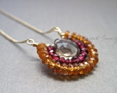 Gemstone Pendant Necklace with Smoky Quartz, Garnet, and Mandarin Orange Garnet, Gold Necklace with Gemstone Pendant