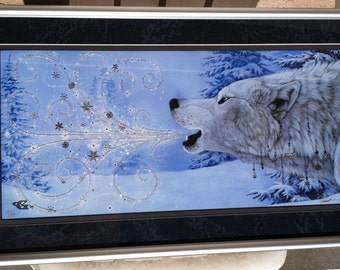 Winter Wolf Howling Snow Sparkles Glitter Collector's Print