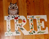 Personalized - Letter or Name Sign - Wood Bird Carving - Owl Art - OOAK
