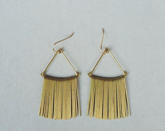 Wide Triangle Fringe Earrings