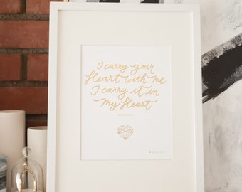 I Carry Your Heart EE Cummings quote with Geometric Heart Nursery Wall Art I Love You Print Home Decor Gold Foil 8x10