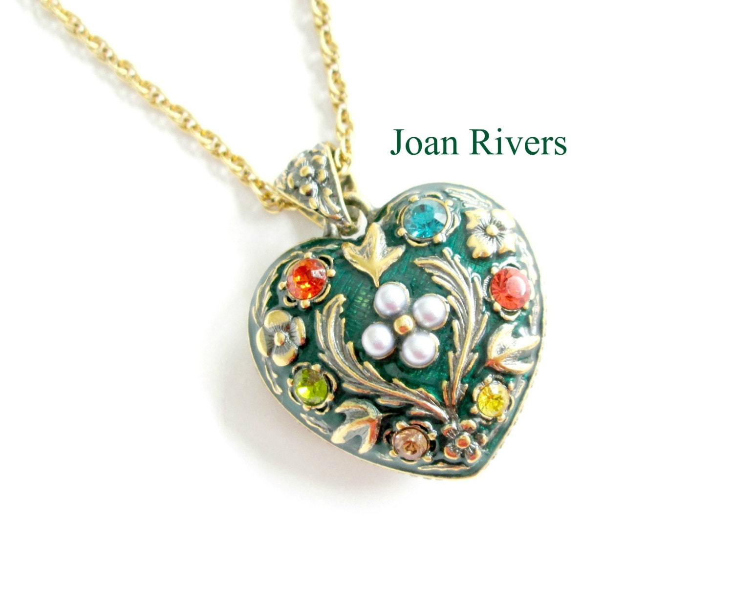 Joan rivers puff heart pendant necklace for Joan rivers jewelry necklaces
