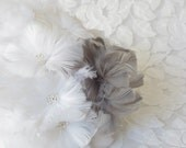 White and Grey Feather Bridesmaids Bouquets - Frost Collection - Winter Wedding Flowers - White and Gray Bouquets
