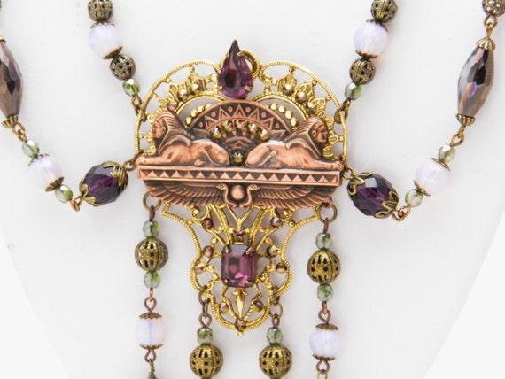 Egyptian Revival Sphinx Necklace Set with vintage gems and contemporary glass beads