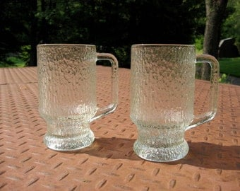 Two Indiana Glass crystal or chipped ice mugs