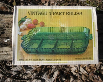Vintage Indiana Glass 5 part relish, condiment tray,  new in box, Olive color