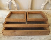 Set of 4 Vintage Wooden Trays - Wood Drawers with Aluminum Bottoms - Rustic Storage