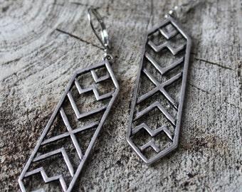 Boucles d'oreilles argent geometrique / Silver geometric earrings (BO-897)