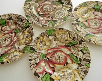 Set of Four Antique Brown Transferware Floral Chintz Bermuda Myott Plates / 1930's / England