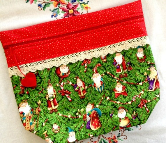 Big Bottom Bag Vintage Santa Ornaments Cross Stitch, Sewing, Embroidery Project Bag