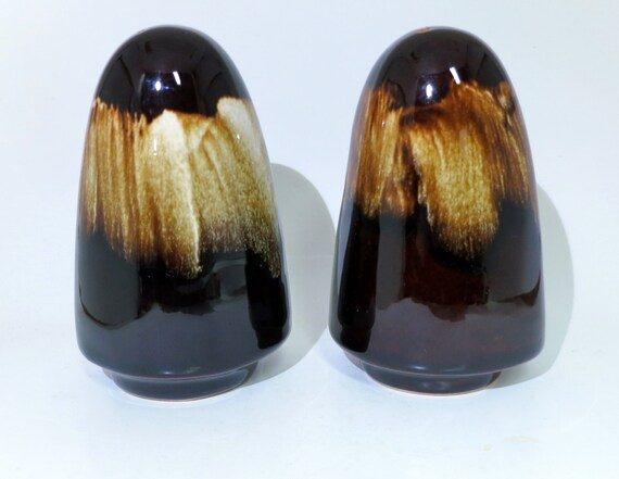 Mint Set Brown Drip Salt Pepper Shakers Beautiful By
