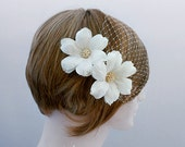 Silk Dupioni Bridal Headpiece With Veil Bridal Headpiece Flower Veil Wedding Headpiece With Veil Birdcage Veil Handmade Bridal Hair Flowers