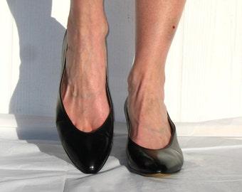 80s Pappagallo Shoes * Black Leather Pumps * Black Pumps * Pappagallo Pumps * Preppy Pumps * Black Heels