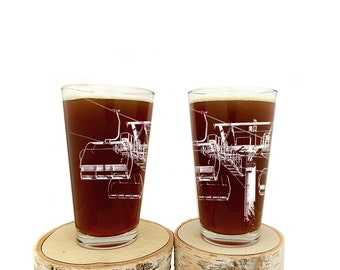 Lift 8 Pint Glasses - Chairlift Beer Glasses - Set of two 16oz. Pint Glasses - Ski Lift Above Tree Line