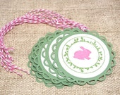 Easter Tags, Easter Basket tags, Easter bunny, Set of 6 tags, Handmade tags