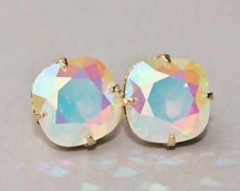 RARE White Opal Diamond Mist Swarovski Earrings,Sparkle Earrings,Rounded Square Cushion Post,Ear Stud,Swarovski Opal,Gold Post Earrings,Gift