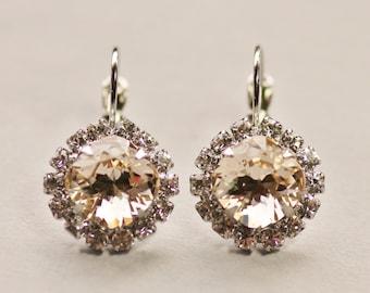 Swarovski Champagne Silk Rhinestone Halo Earrings,Pale Champagne,Light Silk Cushion Studs,Bridal Earrings,Clear Crystal Drop Earrings,Bezel