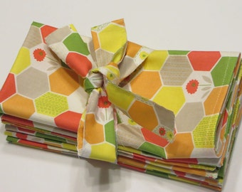 Sale: Cloth Napkins Handmade, set of 4, Hexagons, Large Dinner Napkins, Gift bow included, Colorful orange Napkins, Ready to Ship
