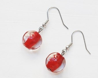 Red earrings, red lampwork earrings, red glass earrings, lentil earrings