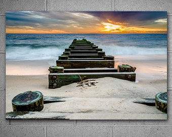 Seascape Metal Wall Art, Vivid Metal Print, Ocean Sunrise photography, Limited Edition Art, Many sizes available, Ready to Hang