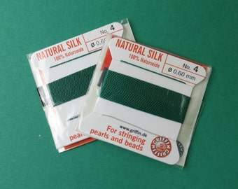 Natural Silk Cord With Needle - 2 packs - Size 4 - Green