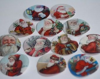 Christmas cookies decorations, 12 vintage Santa edible wafer paper pictures for cookies or cupcake toppers, cookie decorating.