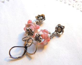 Whithe Pink Lampwork Earrings. Rose Flower Earrings. Silver Plated Long Earrings. Handmade Earrings. Handcrafted Jewelry.