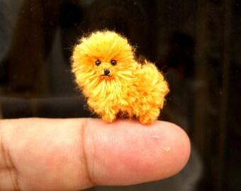 Orange Pomeranian Puppy - Tiny Crochet Miniature Dog Stuffed Animals - Made To Order