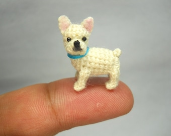 Mini White French Bulldog - Micro amigurumi Tiny Crocheted Dog - Made To Order