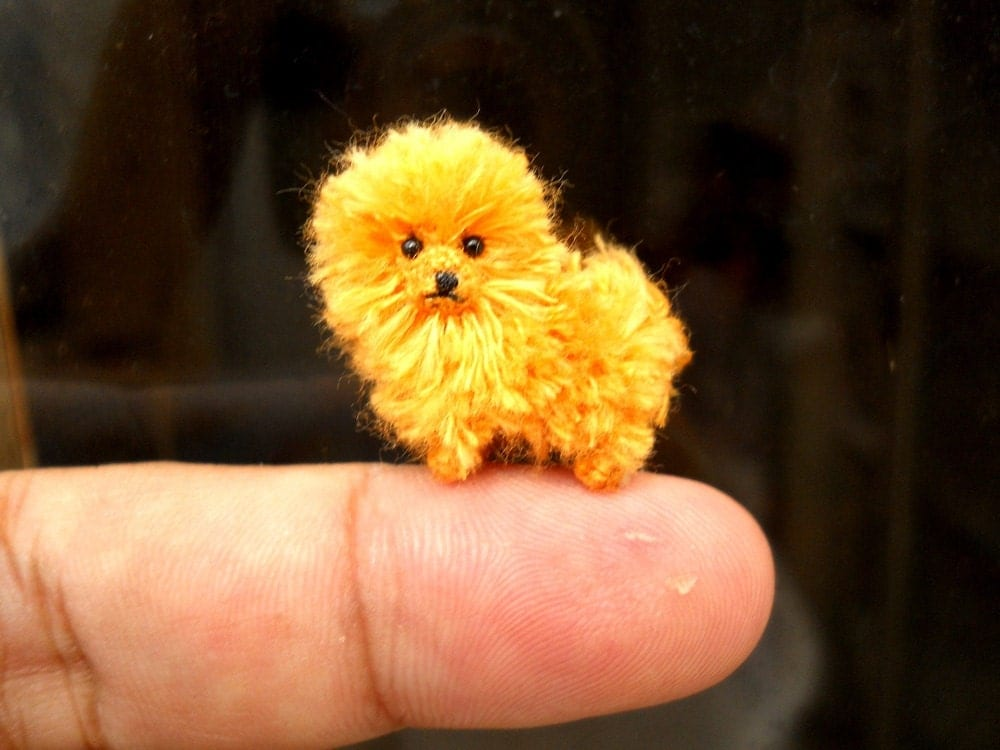 orange pomeranian puppy orange pomeranian puppy tiny crochet miniature dog stuffed 3666