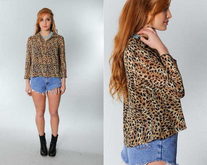 Size 11 Vintage Animal Print Top | Brown Leopard Cheetah Pattern Collared Shirt | 5EE