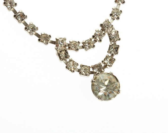 Vintage Silver Rhinestone Necklace - 1950s Bling Costume Jewelry - Crystal Bridal Necklace Wedding Jewelry 0087 SALE 5D