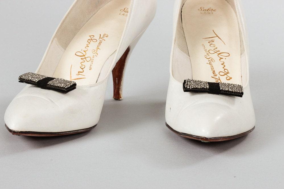Vintage Shoe Clips Black And Marcasite Beads Preppy Retro 1920s 1930s 1940s 1950s Mod Art Deco Wedding Shoes Bridesmaid