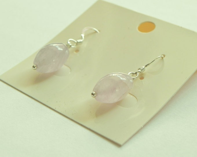 Lavender amethyst rice bead gemstone drop sterling silver earrings|purple gemstone|February birthstone|pastel shades|pastel gemstone