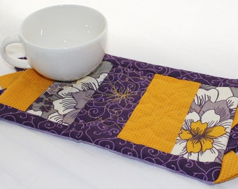 A Yellow Gray Purple Masterpiece Quilts Mug Rug II