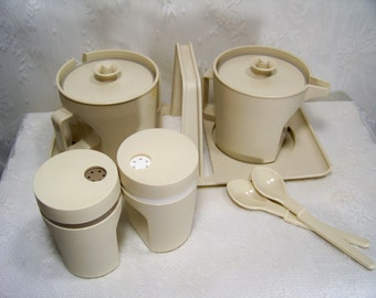 Vintage Tupperware Cream and Sugar with Serving Caddy Tupperware Salt and Pepper Shaker Set