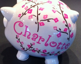 Personalized piggy bank girl or boy large, hand painted custom