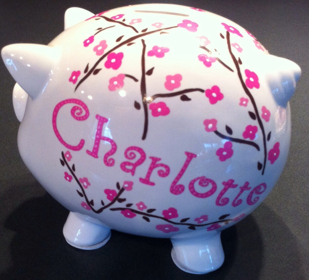 Personalized piggy bank girl or boy large hand painted custom - Coin banks for boys ...