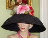 Sale OOAK Designer Black Raffia ROSES Floral HAT, Pink Red Cream, Vtg Silk Millinery Flowers, Church, Derby, Polo, Garden Party Dress Hat