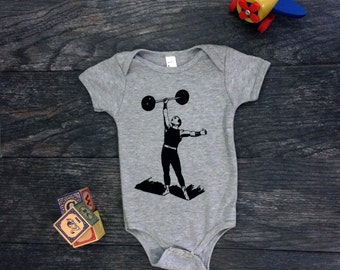 Meet Crossfit Baby - Strong Man Screen Print Heather Grey Baby Onesie Bodysuit