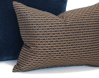 Blue Pillow Cover Gold Pillow Stripe Upholstery Decorative Pillow Accent Throw Pillow Cover 20x20 18x18 16x16