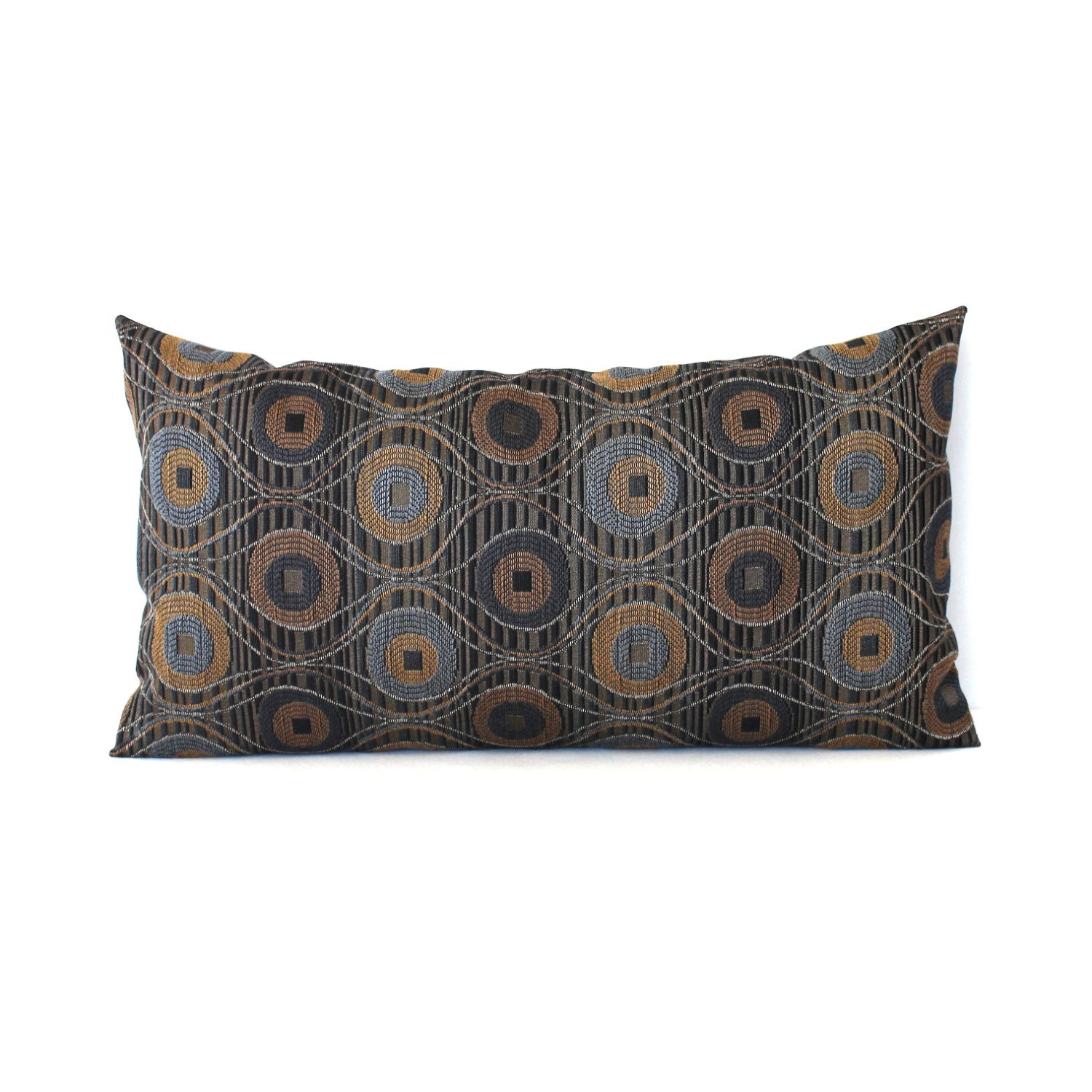 Decorative Pillow Brown : Lumbar Pillow Cover Blue Pillow Brown Pillow Decorative Pillow