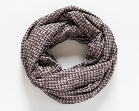 Knitting Pattern For Houndstooth Scarf : Items similar to Mens Scarf Houndstooth Scarf Jersey Knit Infinity Scarf Fall...