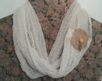 Infinity scarf  lightweight , cotton, Handmade, Lace  Shabby Chic #Z1