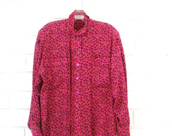 80's ESCADA SILK BLOUSE vintage designer button up shirt shoulder pads hot pink fuschia confetti star print M