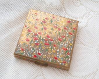 Poppies Spring Flowers Colorful All Over Enamel Compact Vintage Volupte Gorgeous